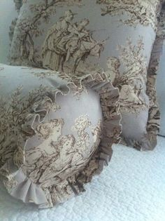 "Amy Chalmers from the Maison Decor Blog displays Annie Sloan Fabric Collection: Normandie Toile used to create these gorgeous pillows! This particular fabric comes in an amazing 110"" width which is great for bedding and extra full panels!"