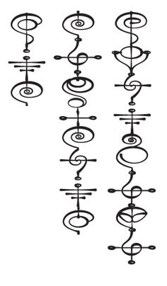 Order - Zek, Strength - Karik'es and Balance - Vo'ektaya.  (Vulcan Calligraphy)