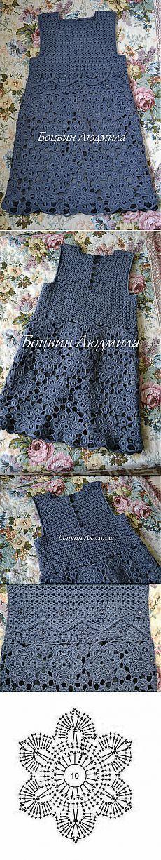 Dress crochet from motifs. Crochet For Kids, Crochet Baby, Knit Crochet, Crochet Skirts, Crochet Clothes, Dress Patterns, Crochet Patterns, Freeform Crochet, Baby Cardigan