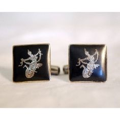 Niello Sterling Cufflinks, Siam Silver Mens' Jewelry, Vintage... ($32) ❤ liked on Polyvore featuring men's fashion, men's accessories, cuff links, vintage mens accessories and mens cuff links