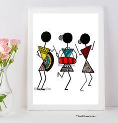 Warli Art Warli prints indian folk art prints home dec or Worli Painting, Painting Quotes, Music Painting, Art Du Monde, African Art Paintings, Art Tribal, Madhubani Art, Indian Folk Art, Modern Indian Art