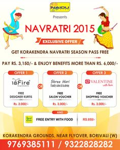 #Navratri #Offer #Hurry  Get #KorakendraNavratri2015 Season Pass Free!!!  Pay Rs. 3,150/- & Enjoy Benefits more than Rs. 6,000/-  No Hidden Charges / No Terms & Conditions. Don't miss the chance to avail this offer.