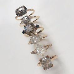 Natural brilliance from our grey diamond rose cuts and emerald cut labradorite ring Diamond Rings, Diamond Engagement Rings, Diamond Jewelry, Cute Jewelry, Jewelry Rings, Jewelry Accessories, Skull Jewelry, Jewlery, Wedding Jewelry