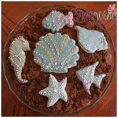 Under the Sea cookies by Sugar Wishes. No Bake Sugar Cookies, Fancy Cookies, Iced Cookies, Royal Icing Cookies, Cupcakes, Cupcake Cookies, Seashell Cookies, Mermaid Cookies, Summer Cookies