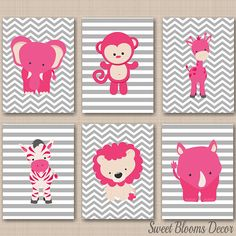 Jungle Animals Nursery Wall Art Pink Gary Safari Nursery Wall