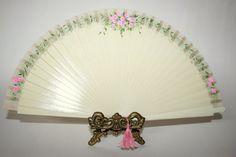 Wedding. Hand painted fan for bride or bridesmaid. Ivory. Free Shipping.