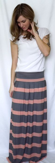 Striped Maxi Skirt Women's Long Skirt Blush and Grey by OAKscarves, $54.00