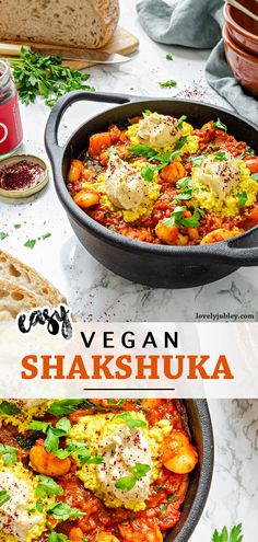 A delicious and comforting brunch favourtite. This vegan shakshuka uses tofu scramble and cashew cream to replace the traditional fried egg. It's full of flavour and packed with plant-based protein! #veganbrunch #shakshuka #veganshakshuka #veganrecipes #breakfastrecipes #scrambledtofu Vegan Brunch Recipes, Gluten Free Recipes, Breakfast Recipes, Tofu Scramble, Cashew Cream, Vegan Blogs, Plant Based Protein, Vegetarian, Food