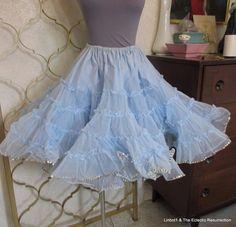 2aeb5faeeb Vintage Baby Blue Petticoat Crinoline Square Dance Burlesque Rockabilly  Sequins Square Dance