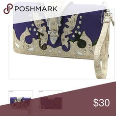 Natural camo/ purple top zipper wallet Natural camo/ purple top zipper closure wallet. Top quality leatherette material.  Top double zipper closure.  Front decorated rhinestone design. Dividers/ compartments inside. Bags Wallets