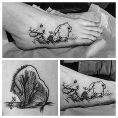 Eeyore, piglet, winnie the pooh, sketch, foot tattoo, black and grey