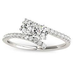 14k White Gold /2ct TDW Diamond Two-stone 'My Best Friend' Ring