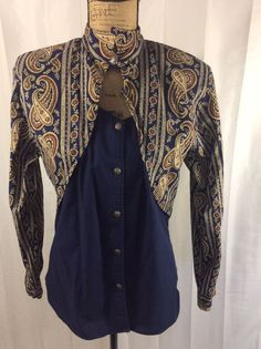 VTG ROPER  womens RODEO BLUE WESTERN SHIRT size 11/12 see measurements #Roper #Western #Casual