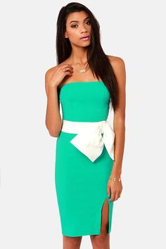 LULUS Exclusive Stunning Side Up Strapless Sea Green Dress - $41 : Fashion Shop By Color at LuLus.com