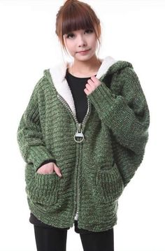 Loose Bat-wing Sleeve Ladies Hood Thick Green Knitting Sweater One Size @YIF11601gr