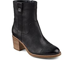 On-Trend Pull-On, Over the Ankle Bootie Offered in Premium Leather Materials on Upper Pull Tabs Allow for Easy On/Off Wearing Non-Marking Rubber Outsole with Wave-Siping for Ultimate Wet/Dry Traction Heel Height: 3 Inches