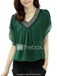 1e209b5d60b7f Mulheres Blusa Casual Simples Primavera   Verão,Sólido Vermelho   Preto    Verde Poliéster Decote