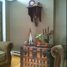 olde trunk, rustic birdhouse, romantic candlesticks & prim shelf -sweet!