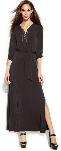 MICHAEL Michael Kors Lace-Up Side-Slit Maxi Dress