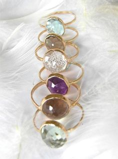 Smoky Quartz Stacking Gemstone Ring, Recycled 14k Gold ring, Handmade by Michelle Lenae Jewelry