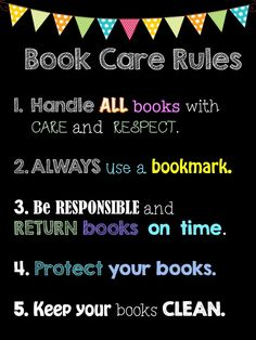 elementary library rules - Google Search                              …