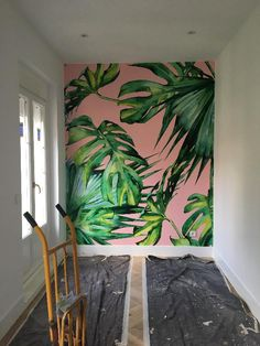 Popular custom-made Pink Jungle wallpaper. This on-trend palm leaf wallpaper will bring some life into any room. Pink Jungle Wallpaper, Palm Leaf Wallpaper, Tropical Wallpaper, Wall Wallpaper, Wallpaper For Home, Office Wallpaper, Wall Painting Decor, Mural Wall Art, Deco Cool