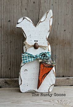 Easter Bunny Decor, Rustic Spring Decor, Spring Bunny Shelf Sitter, Country Spring Decor on Etsy, $15.95