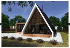 A Frame House Plans, A Frame Cabin, Triangle House, Dome House, House Siding, Unusual Homes, Small Buildings, Wooden House, House In The Woods