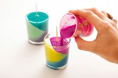 Genius! Use crayons to DIY these cool color block candles.