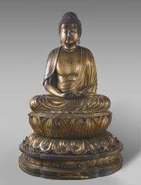 Amida Buddha  Made in Japan, Asia     Momoyama Period (1568-1615), c. 1600    Artist/maker unknown, Japanese    Lacquered and gilded wood  55 1/8 x 38 3/16 inches (140 x 97 cm)  Philadelphia Museum of Art