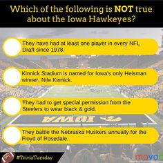 Which of the following is NOT true of the Iowa #Hawkeyes? #TriviaTuesday