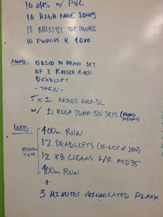 #wod - 7 1/2 minutes  Knee is jacked so instead of the run, did 500m rowing each.   heavy rack deadlift, 135 wod deadlift 75 (moved up to 85 halfway through)  11/13/13