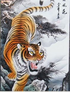 The tiger traditional Chinese painting came down from the mountain tiger king style town shop treasure beasts four feet banners Chinese Tiger, Chinese Art, Japanese Tiger Tattoo, Tiger Conservation, Tiger Painting, Painting Tattoo, Tiger Dragon, Watercolor Mermaid, Asian Tattoos
