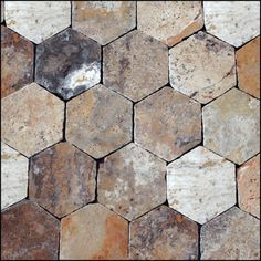 Epoch Architectural Surfaces Scabos Hexagon Travertine Unpolished Mosaic in Multi