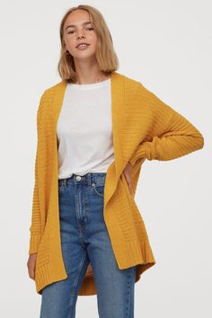 Long cardigan in a soft knit with dropped shoulders, long sleeves, and ribbing at opening, cuffs, and hem. Long Cardigan, Knit Cardigan, Yellow Cardigan Outfits, Winter Outfits, Casual Outfits, Cardigan En Maille, Gilet Long, Outfits Mujer, Fashion Company
