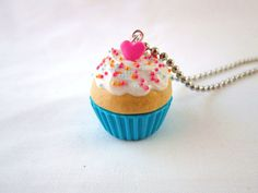 Kawaii Blue Cupcake Pendant Necklace Polymer Clay by DoodieBear, $10.00