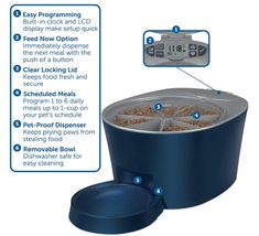PetSafe Six Meal Automatic Pet Feeder Dispenses Cat and Dog Food Battery Powered Digital Clock LCD Screen Display *** Learn more by visiting the image link. (This is an affiliate link) Automatic Cat Feeder, Pet Feeder, Daily Meals, Small Dogs, Dog Food Recipes, Your Pet, Pet Supplies, Dog Cat, Digital