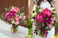 Berry Colored Wedding Bouquet with clematis.  So pretty!