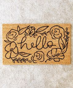 *Current processing time is weeks This hello doormat with floral design is the perfect way to have an inviting entry way to your home! Each welcome mat is hand painted and hand lettered. Coir doormats are made of natural color. Coir Doormat, Welcome Mats, First Home, My Dream Home, House Warming, Home Goods, Home Improvement, Sweet Home, Facade