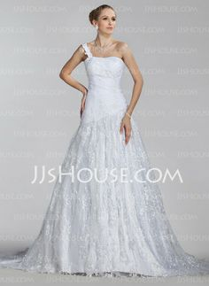 Wedding Dresses - $214.99 - A-Line/Princess One-Shoulder Court Train Satin Lace Wedding Dress With Ruffle (002004516) http://jjshouse.com/A-Line-Princess-One-Shoulder-Court-Train-Satin-Lace-Wedding-Dress-With-Ruffle-002004516-g4516