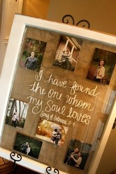 Neat shadow box picture frame to put engagement photos in to be displayed at the wedding !!