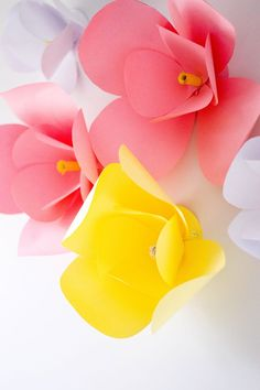 DIY Paper Flowers - The Easiest DIY Wall Decor Adding a touch of color to our home office with these super easy, super cute DIY paper flowers. Paper Flower Vase, Paper Vase, Paper Flowers Diy, Easy Paper Crafts, Diy Paper, Diy Crafts, Craft App, Paper Flower Tutorial, Painted Paper