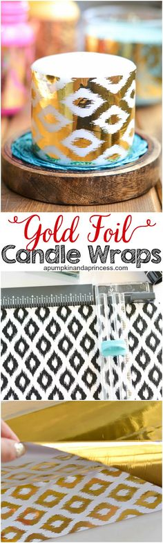 Use decorative paper and Elmer's X-TREME Glue Sticks to make custom-wrapped candles for easy, home decor. Glue Crafts, Decor Crafts, Diy Dog Gate, Diy Outdoor Weddings, 90th Birthday Parties, Gold Diy, Summer Diy, Diy Candles, Paper Decorations