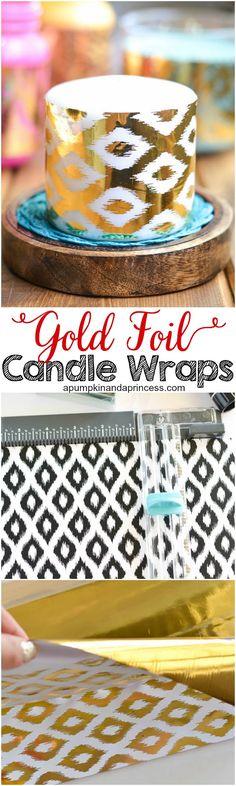 DIY Gold Foil Candles - A Pumpkin And A Princess