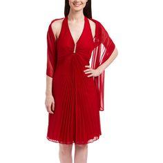 ASpeed Red Pleated Halter Dress Set ($33) ❤ liked on Polyvore featuring dresses, long dresses, long pleated dress, halter neck dress, red pleated dress and halter top