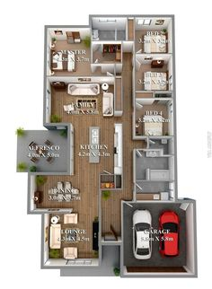 Two Bedroom Small House Plans Under 1000 sq ft 3D Designs with ...