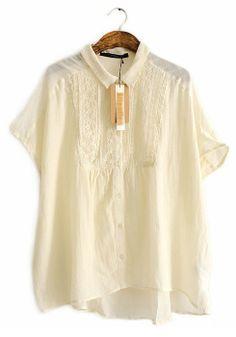 Beige Patchwork Lace Irregular Band Collar Cotton T-shirt
