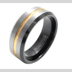 Men's Tungsten Carbide Tri Tone Wedding Band Black Inner And Rose Center Groove