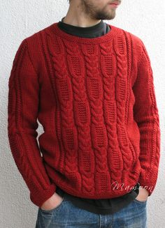"Free Knitting Pattern for Tire Trace Sweater = This long-sleeved men's pullover features a wide cable panel on the front and on the sleeves. Designed by Agata Smektala. Sizes M/L 38(42)""; 98(108)cm"