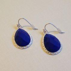 Something Blue? Blue Faceted Stones Dangling Earrings